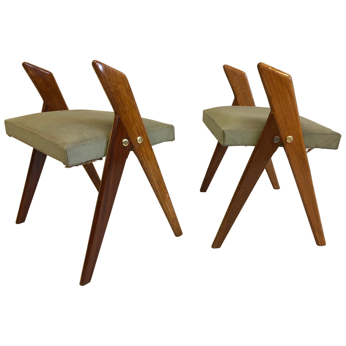 Pair of Italian Mid-Century Modern Benches or Stools, Osvaldo Borsani Attributed
