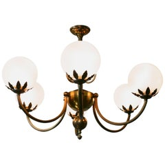 Very Large French Art Deco Six Branch Globe Chandelier