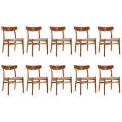 Set of Twelve Hans Wegner Oak and Paper Cord Model CH-23 Dining Chairs