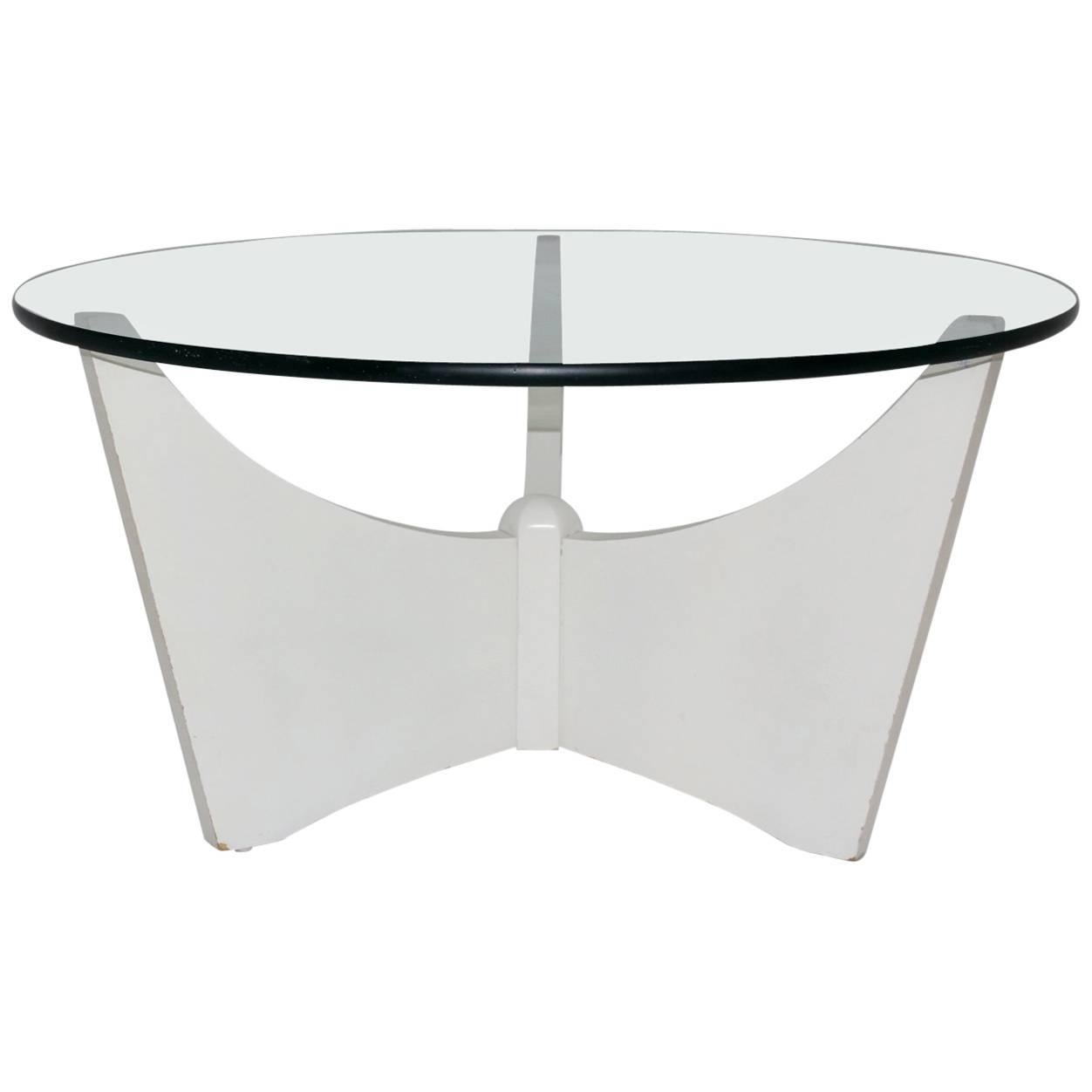 Ordinaire White Coffee Table With Glass Top, Circa 1970