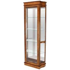 Tall Narrow Walnut and Mahogany Curved Glass Curio Cabinet