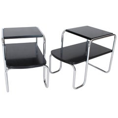 Pair of Art Deco Bauhaus Chrome and Black Lacquer Step End Tables