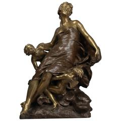 Cupid and Psyche Bronze Sculpture by François-Raoul Larche