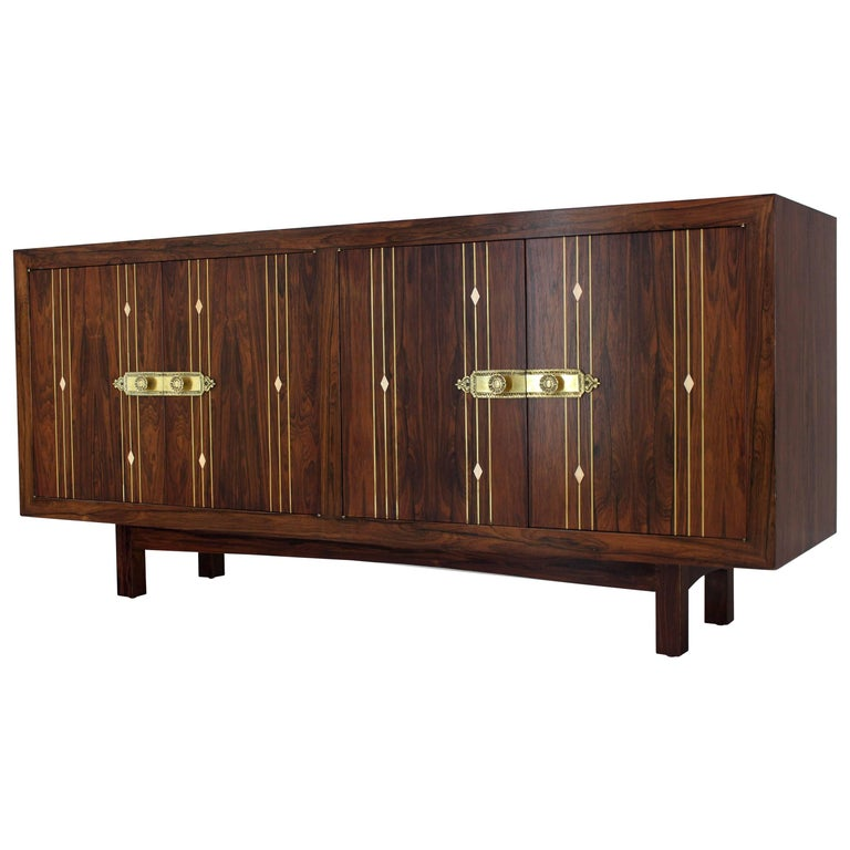 Rosewood with Brass Inlay Midcentury Long Credenza Server
