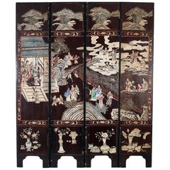 Chinese Coromandel Lacquer Four-Panel Qing Dynasty Screen
