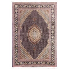 Vintage Persian Tabriz Mahi Rug with Oval Medallion and Swirling Floral Design