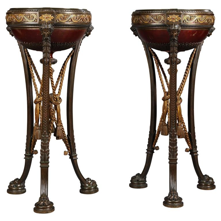Pair of Napoleon III Jardinières Attributed to Barbedienne. French, Circa 1870.