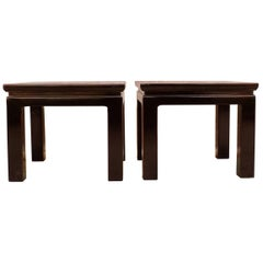 Pair of Refined Black Lacquer Square End Tables