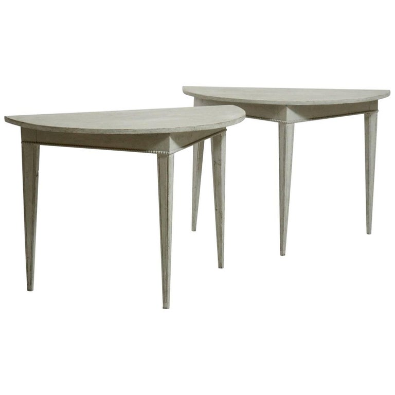 Pair of Gustavian Demilune Console Tables