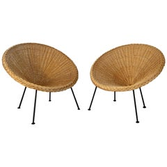 Pair of French Rattan Baskets Armchairs, 1950s