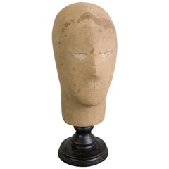 19th Century Canvas Wig Stand with Ebonized Base