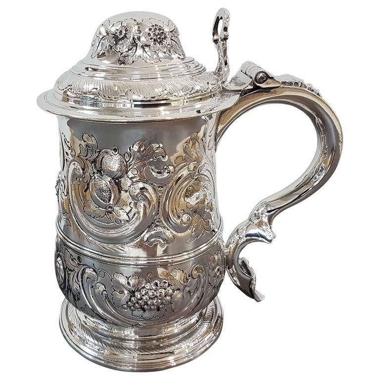 Antique 18th Century George III Sterling Silver Tankard London 1765, John Payne