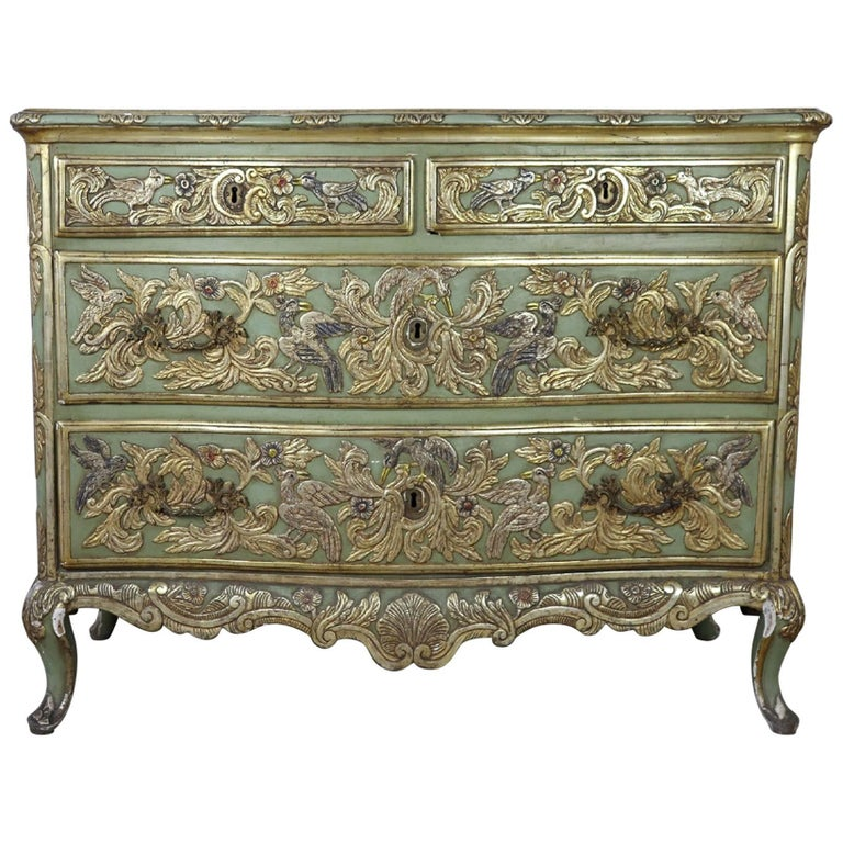 19th Century French Louis XV Style Carved Lacquered and Gilded Chest of Drawers