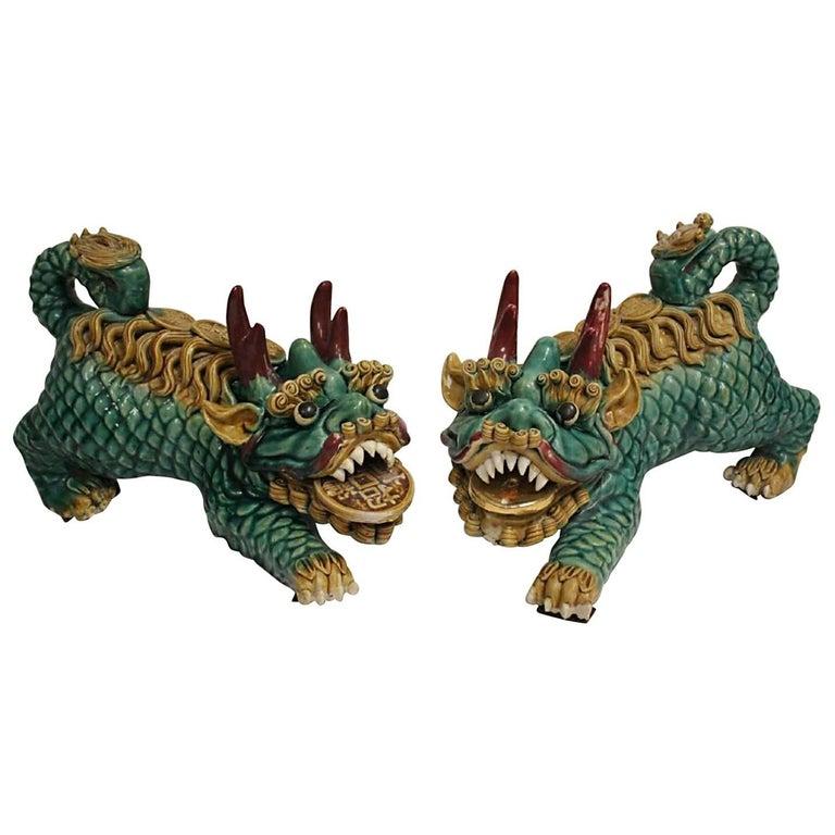 Fine Chinese Pair of Glazed Ceramic Fu Lions, Mid-20th Century