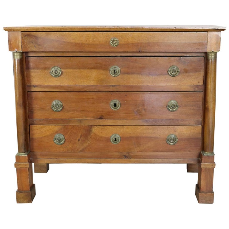 19th Century Empire Italian Walnut Commode Chest of Drawers