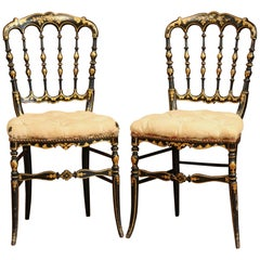 Pair of 19th Century French Napoleon III Black Lacquered Chairs with Gilt Decor