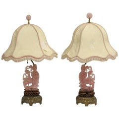 Pair of Chinese Rose Quartz Lamps, Early 20th Century