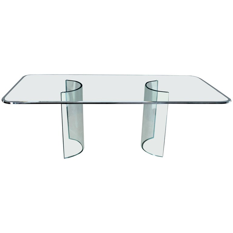 Curved Glass Base Thick 3/4 Glass Top Large Dining Conference Table