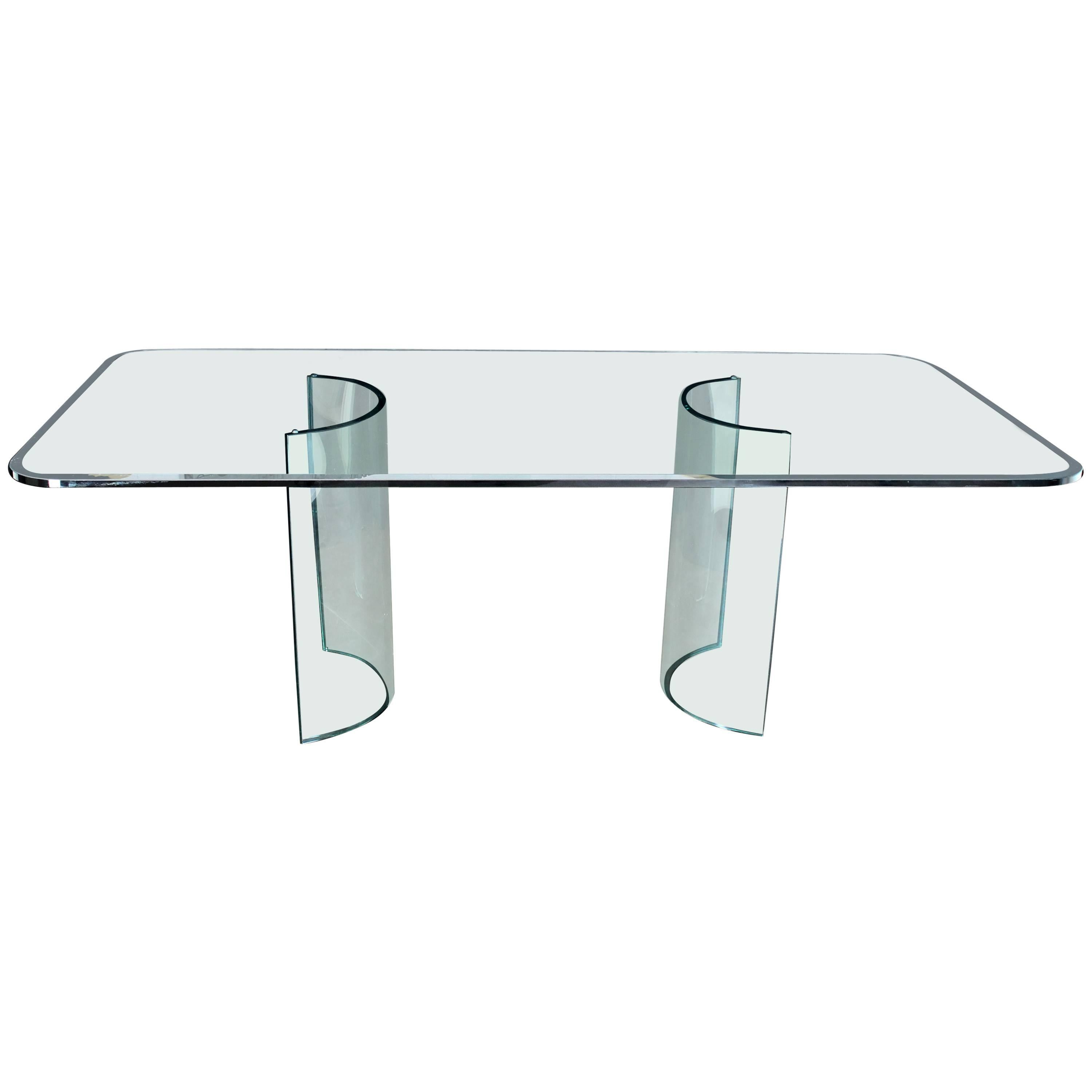 Curved Glass Base Thick 3/4 Glass Top Large Dining Conference Table For Sale
