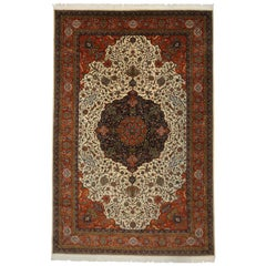 Vintage Romanian Gallery Rug with Persian Tabriz Design and Traditional Style