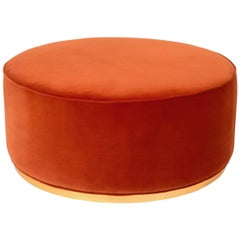 Modern Style Round Ottoman in Velvet with Polished Brass Toe Kick