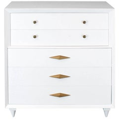 White Lacquer Deco Style High Chest Dresser with Diamond Pulls