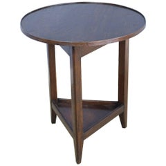 Small Welsh Oak Cricket Table, Decorative Edge