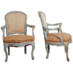 Exceptional 18th Century Rococo Armchairs, pair, circa 1760