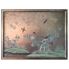Silver 1930s Chinoiserie Wallpaper Remnant Newly Framed