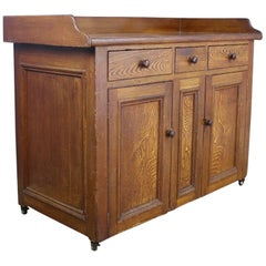 Antique Scottish Dresser Base on Castors, Original Paint