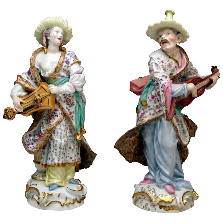 Meissen Figurines Couple Malabarian Lady Man Tall Models 1519 1523 by Meyer 1830