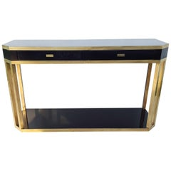 Black and Brass Console Table from Jean Claude Mahey, 1970, France