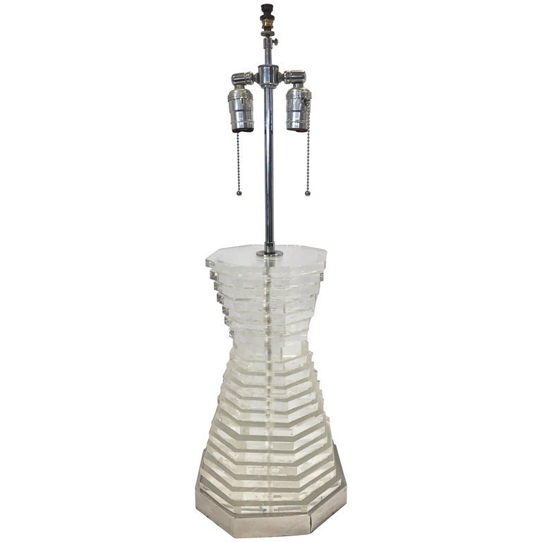 Mid-Century Modern Tall Lucite Stacked Table Lamp