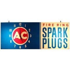 1960s AC Fire Ring Spark Plugs Spark Plug Box Shaped Light-Up Plastic Clock