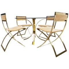 Brass Dinning Set Marcello Cuneo Chairs vs Osvaldo Borsani Table