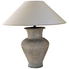 Large Unglazed Khmer Vase as Table Lamp