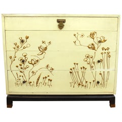 Asian Style Chest of Drawers with Gold Floral Motif