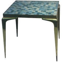 Modernist Italian Murano Glass Tile and Brass Table