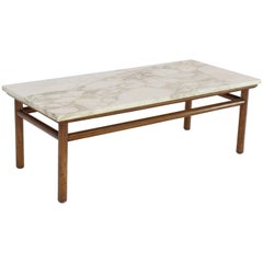 Gibbings Widdicomb Walnut Dowel Base Marble-Top Rectangular Coffee Table
