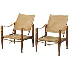 Pair of Kaare Klint Safari Chairs in Canvas, Made by Rud Rasmussen, Denmark