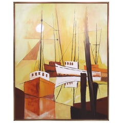 Vintage Modern Oil Painting of Boats