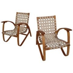1930 Jan Vanek Bentwood Lounge Armchairs with Woven Straps in Blond Patina