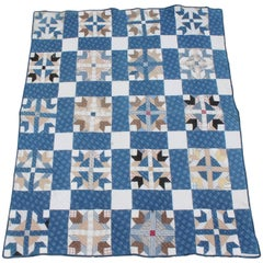 19th Century Blue Country Quilt in Bear Paw Pattern