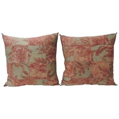 "Pair of Vintage Patchwork Fortuny ""Glicine"" Pattern Red and Silvery Pillows"