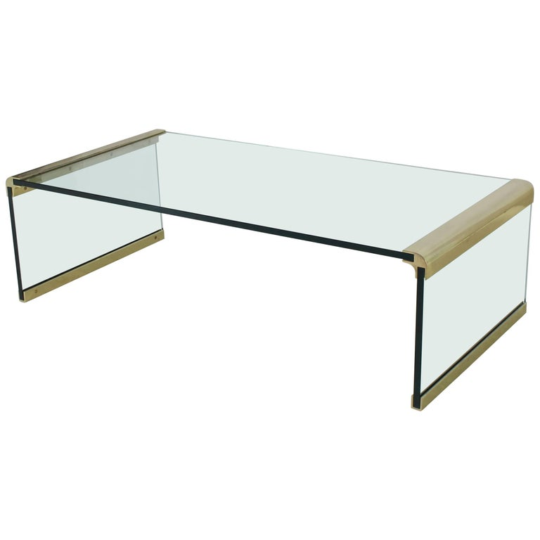Glass and Brass Rectangular Coffee Table