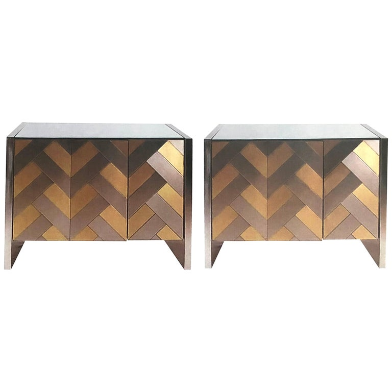 Pair of Hollywood Regency Satin Brass and Polished Steel Cabinets by Ello