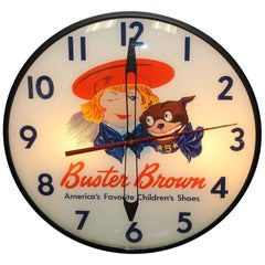 1940s Buster Brown Shoes Pam Co. Advertising Vintage Lighted Wall Clock
