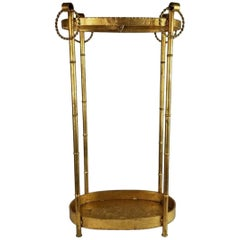 Chinoiserie Gilt Metal Faux Bamboo Umbrella Stand