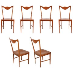 Italian Wooden Midcentury Dining Chairs with Sculptural Backrest, Set of Six