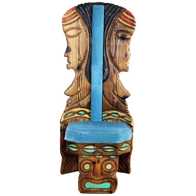 Witco Female Tiki Chair Carved Tiki Females Midcentury Blue Velvet Upholstery
